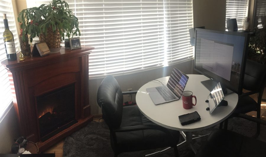 Converted dining room office workspace