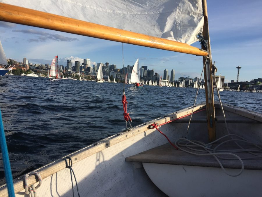 Seattle Duck Dodge Sailboat Race in a Minto on July 16, 2019